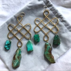 Gold and Turquoise Statement Earrings